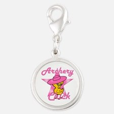 Archery Chick #8 Silver Round Charm