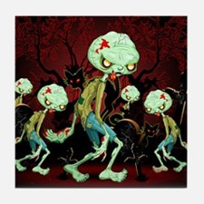 Zombie Creepy Monster Cartoon Tile Coaster