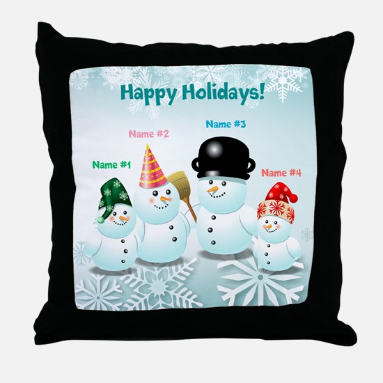 Cute Family Of Snowmen Throw Pillow