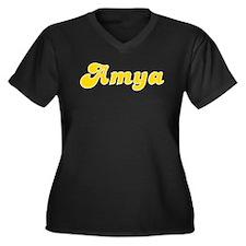 Amya Fancy (Gold) Women's Plus Size V-Neck Dark T-