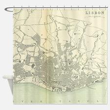 Vintage Map of Lisbon Portugal (189 Shower Curtain