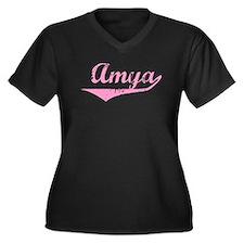 Amya Vintage (Pink) Women's Plus Size V-Neck Dark