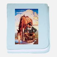 Vintage Cowboy by NC Wyeth baby blanket