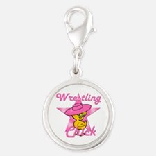 Wrestling Chick #8 Silver Round Charm
