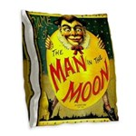 Man in The Moon Game Advertising Print Burlap Thro