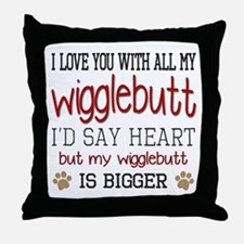 I Love You With All My Wigglebutt Red Throw Pillow
