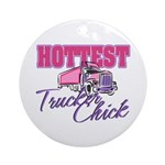 Hottest Trucker Chick Ornament (Round)