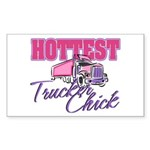 Hottest Trucker Chick Sticker (Rectangle)