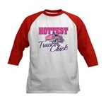 Hottest Trucker Chick Kids Baseball Jersey