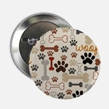 """Dog Bones And Paw Prints 2.25"""" Button"""