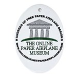 Online Paper Airplane Museum Oval Ornament