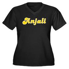 Anjali Fancy (Gold) Women's Plus Size V-Neck Dark