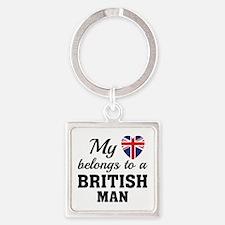 Heart Belongs British Square Keychain