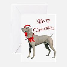 Weimaraner Santa Greeting Cards