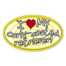 Hypno I Love My Curly Coated Retriever Sticker Ylw