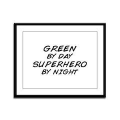 Green Superhero Framed Panel Print