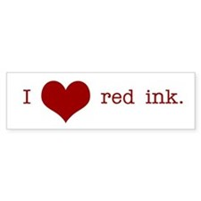 I Heart Red Ink Bumper Bumper Sticker