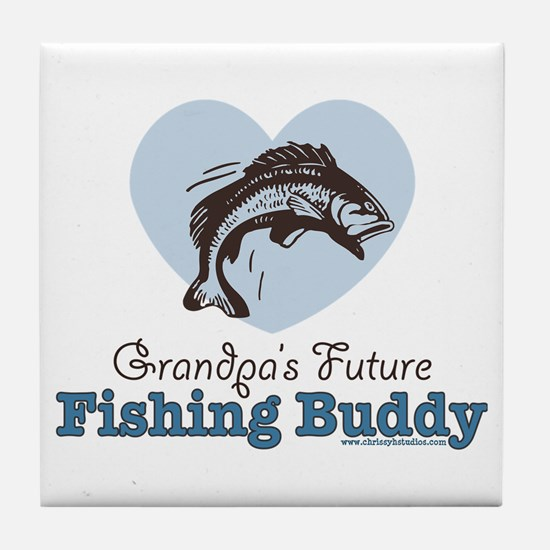 Grandpa's Future Fishing Buddy Fisherman Tile Coas