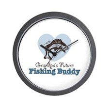 Grandpa's Future Fishing Buddy Fisherman Wall Cloc