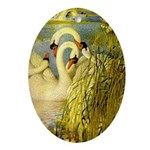 SWANS, Vintage art Print Oval Ornament