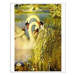 SWANS, Vintage art Print Small Poster