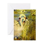 SWANS, Vintage art Print Greeting Cards