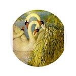 SWANS, Vintage art Print Button