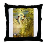 SWANS, Vintage art Print Throw Pillow