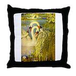 SWANS, Vintage art Print Throw Pillow