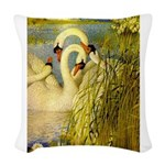 SWANS, Vintage art Print Woven Throw Pillow