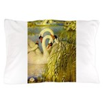 SWANS, Vintage art Print Pillow Case