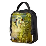 SWANS, Vintage art Print Neoprene Lunch Bag