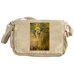 SWANS, Vintage art Print Messenger Bag