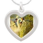 SWANS, Vintage art Print Necklaces