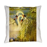 SWANS, Vintage art Print Everyday Pillow