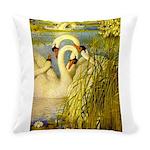 SWANS, Vintage art Print Everyday Pillow