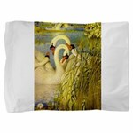 SWANS, Vintage art Print Pillow Sham