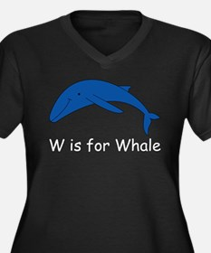 W is for Whale Women's Plus Size V-Neck Dark T-Shi
