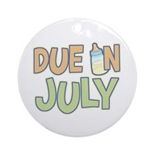 Due In July Green Ornament (Round)