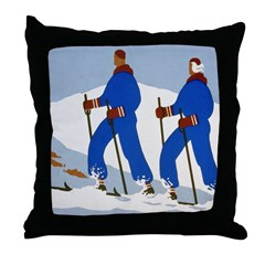 Cross Country Skiing Throw Pillow