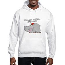 Christmas Hippo BW Hoodie