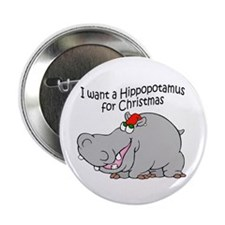 "Christmas Hippo BW 2.25"" Button (10 pack)"