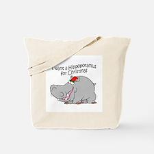 Christmas Hippo BW Tote Bag