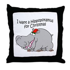 Christmas Hippo BW Throw Pillow