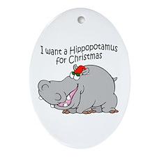 Christmas Hippo BW Oval Ornament