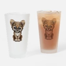 Cute Cheetah Cub Wearing Glasses Drinking Glass