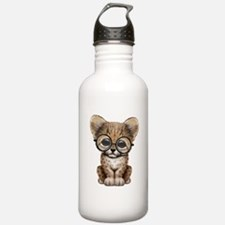 Cute Cheetah Cub Wearing Glasses Water Bottle
