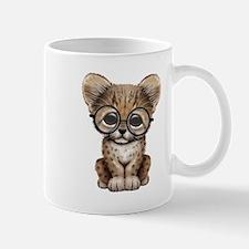 Cute Cheetah Cub Wearing Glasses Mugs