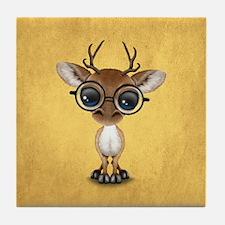 Cute Curious Nerdy Baby Deer Wearing Glasses Tile