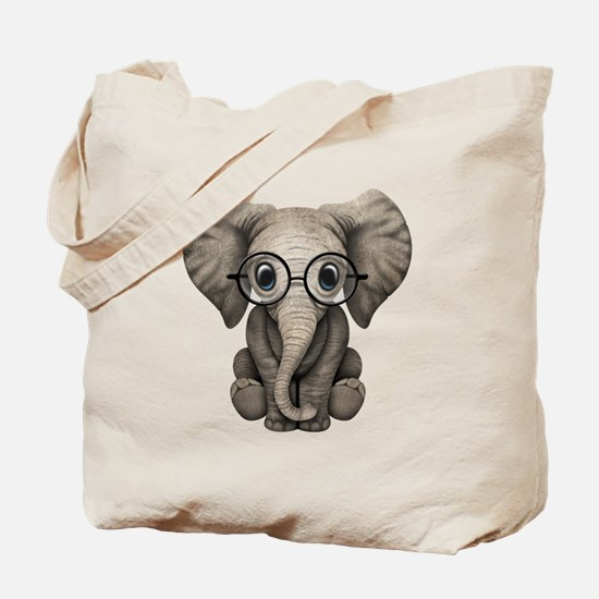 Cute Baby Elephant Calf with Reading Glasses Tote